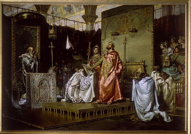 Obra La Conversión del rey Recaredo rey de los Visigodos al Catolicismo por Antonio Muñoz Degrain