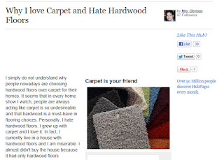 Why I Love Carpet and Hate Hardwood Floors, Says Mrs. Obvious