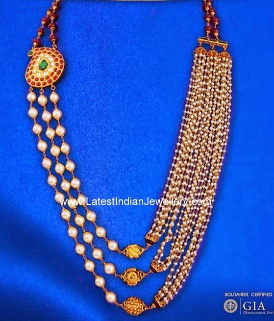 Kundan Mugappu Pearls Necklace
