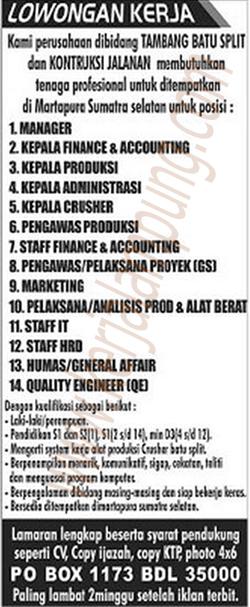 Lowongan Kerja Lampung Terbaru