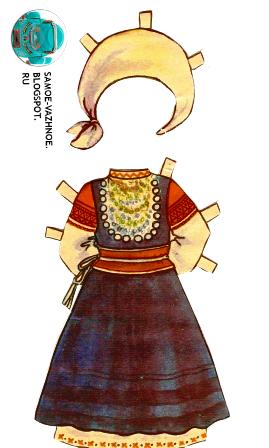 Бумажная кукла СССР голубой бант, майка в горошек