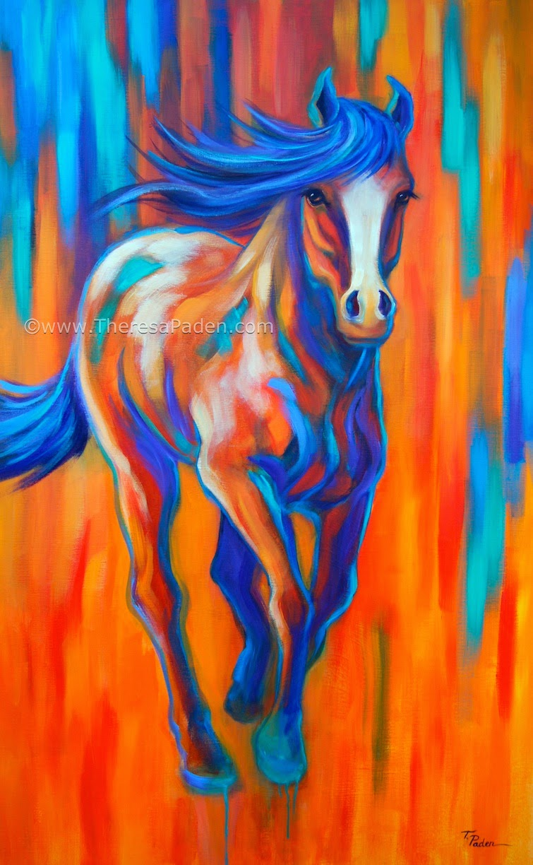 Large Contemporary Horse Painting In Bright Colors By Theresa Paden