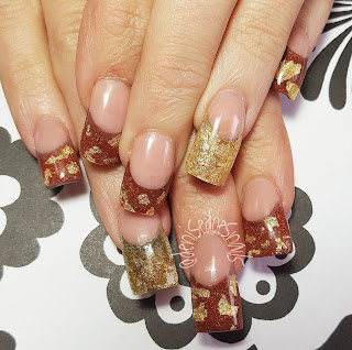 fall nails with gold leafing