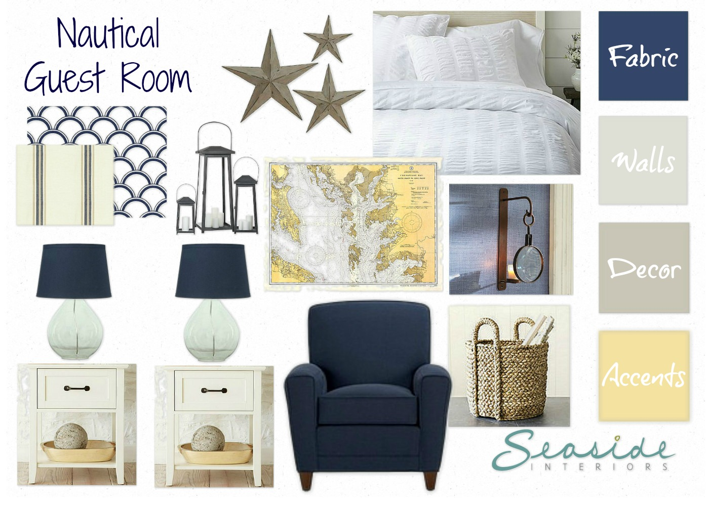 Navy and Yellow Guest Room title=
