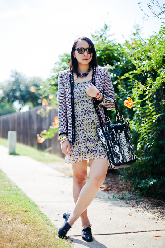 zara neon multicolored studded blazer, la made floral dress, olivia + joy snakeprint tote bag, free people oxford flats, austin fashion blog, texas style blog