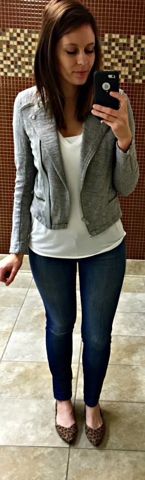Pinspired Outfits Lately - Express one eleven white tee + gap grey knit moto jacket + jeans + leopard flats