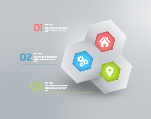Free PSD Three Polygons Infographic