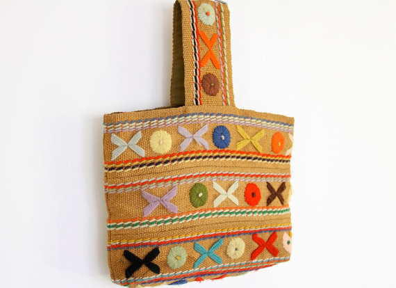 crewelwork embroidery, bag, burlap bag, burlap purse, bag from the 40s, bag from the 50s, 40s fashion, 50s fashion, vintage bag