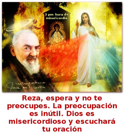 las divina misericordia con un mensaje del padre pìo