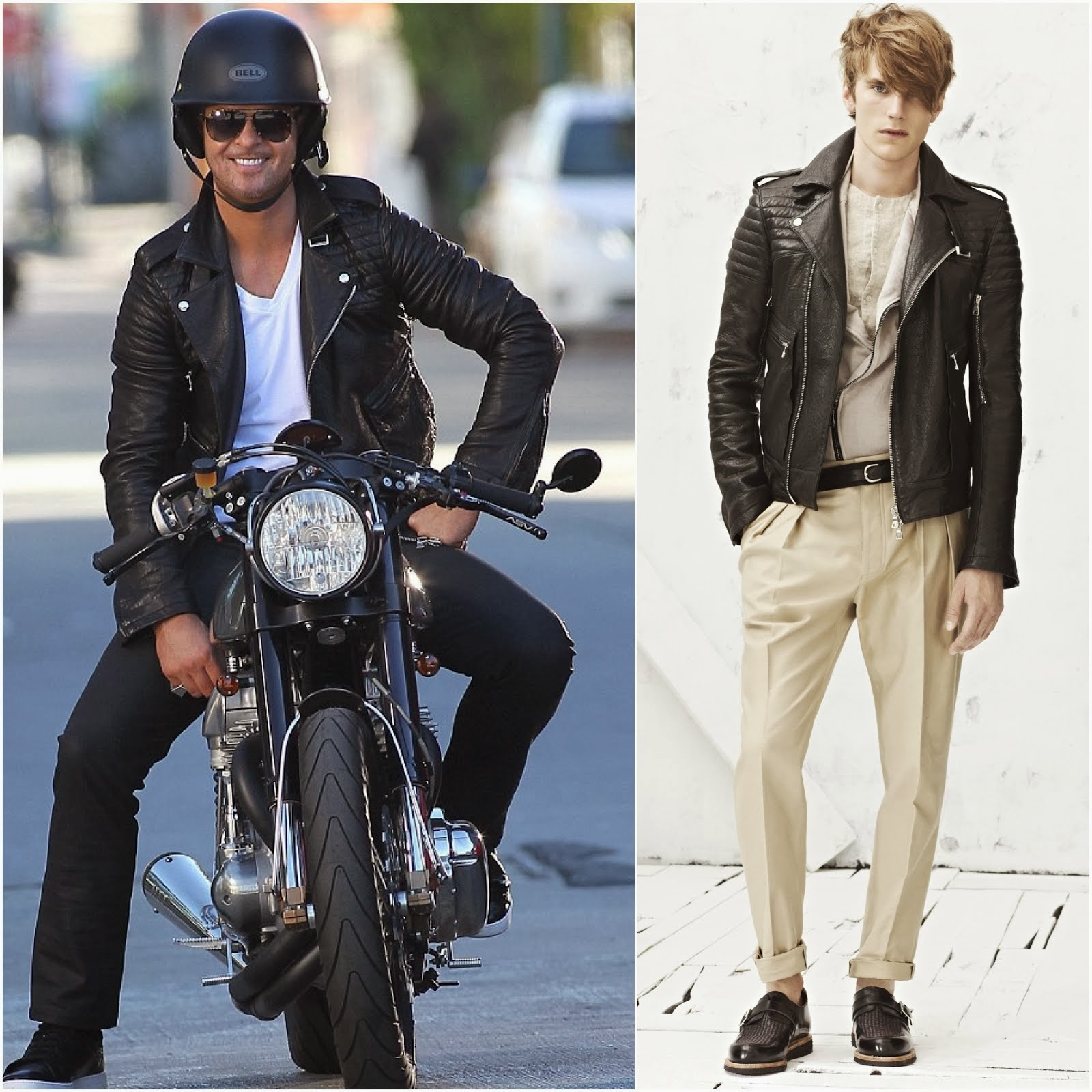 Robin Thicke filmed his latest MV in Balmain leather biker jacket - November 2013