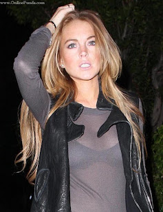 "Lindsay Lohan in transparent dress "" Bra visible"""