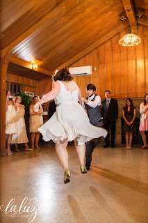 The bride and groom swing dance at Robinswood House