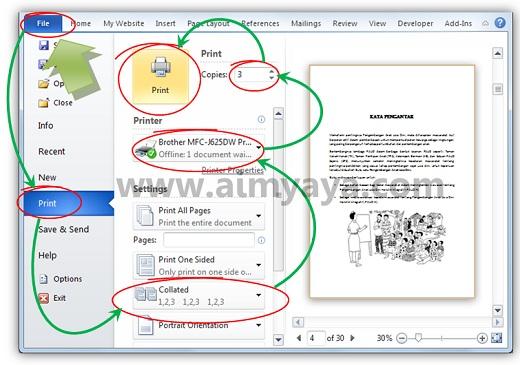 Gambar: Mencetak dokumen beberapa rangkap / salinan menggunakan microsoft word 2010