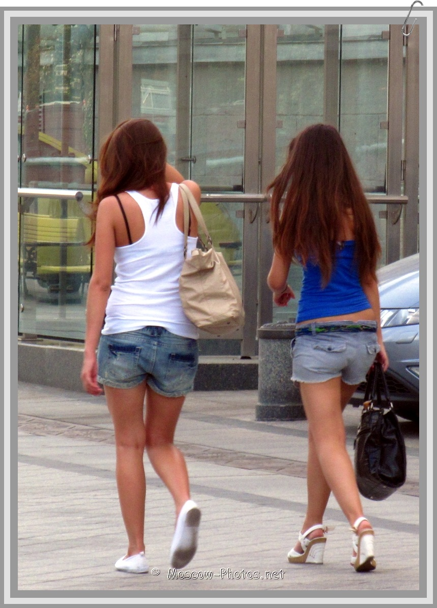 Moscow girls in denim shorts