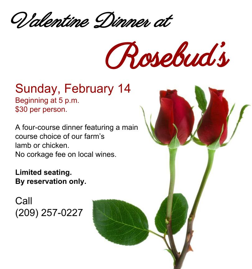 Valentine Dinner at Rosebud's - Sun Feb 14