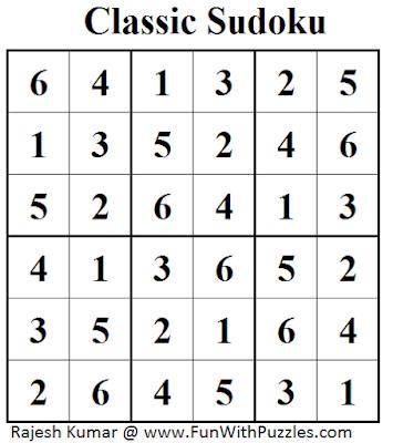 Classic Sudoku (Mini Sudoku Series #41) Solution