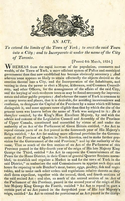 Image: the first page of the Act incorporating the City of Toronto, March 6, 1834