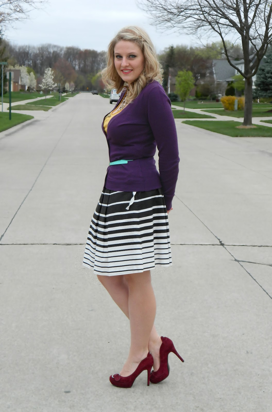 belted cardigan and skirt