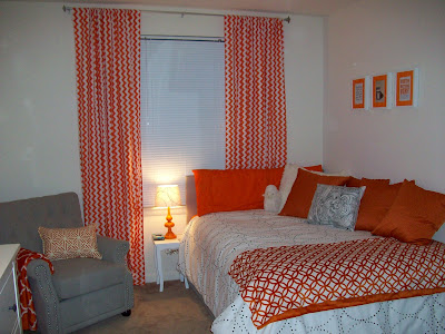 chevron curtains, orange and white chevron curtains, orange and white bedroom