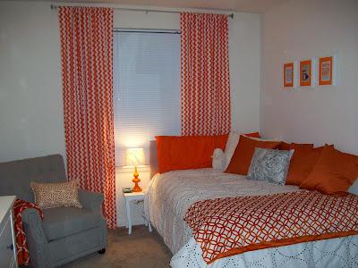 chevron curtains, orange and white chevron curtains, orange and white bedroom