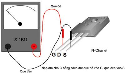 Hình 26 - Đặt que đỏ vào chân G que đen vào S để nạp âm cho G