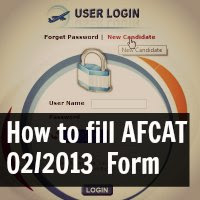 How to fill AFCAT 02/2013 Online Application Form
