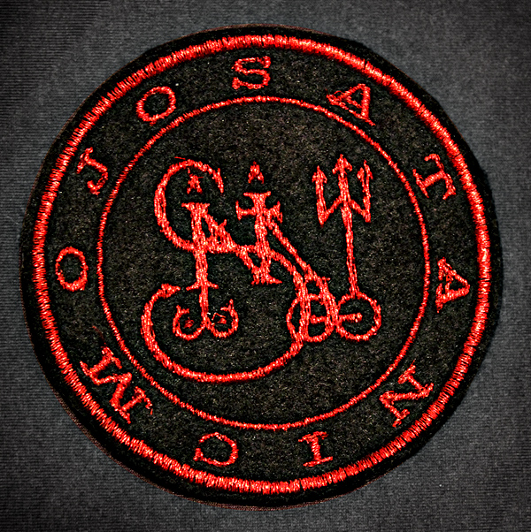 satanic mojo embroidered patch red