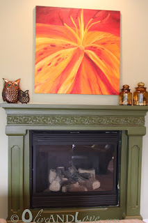 green glaze fireplace