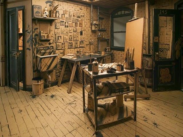 FULL STOP: Instalación de un estudio de artista de tamaño real hecho totalmente de cartón