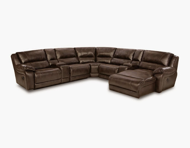 Leather Sectional Sofa with Recliners and Cup Holders
