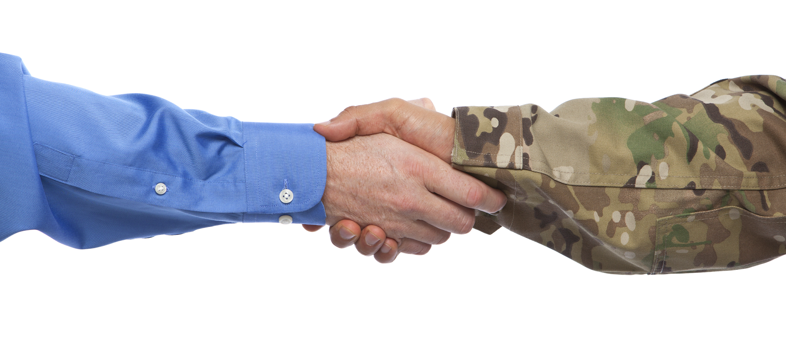 Image of arms/hands shaking, one with business attire, the other in military uniform