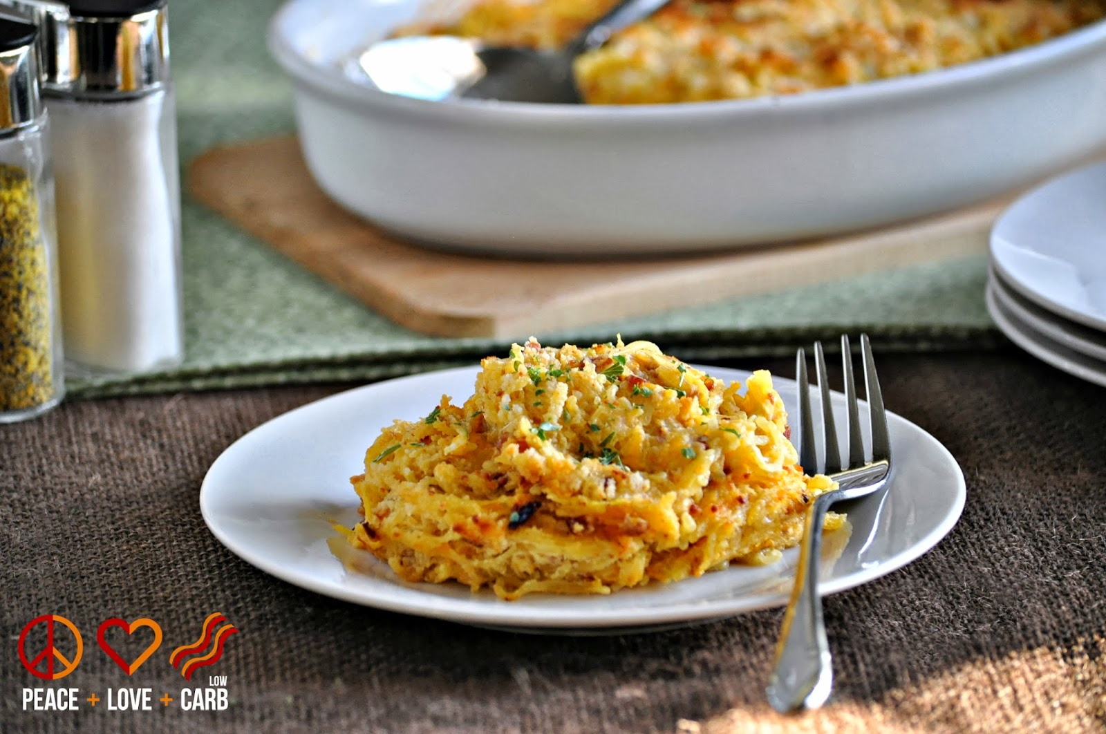 Spaghetti Squash Au Gratin with Bacon – Low Carb, Gluten Free