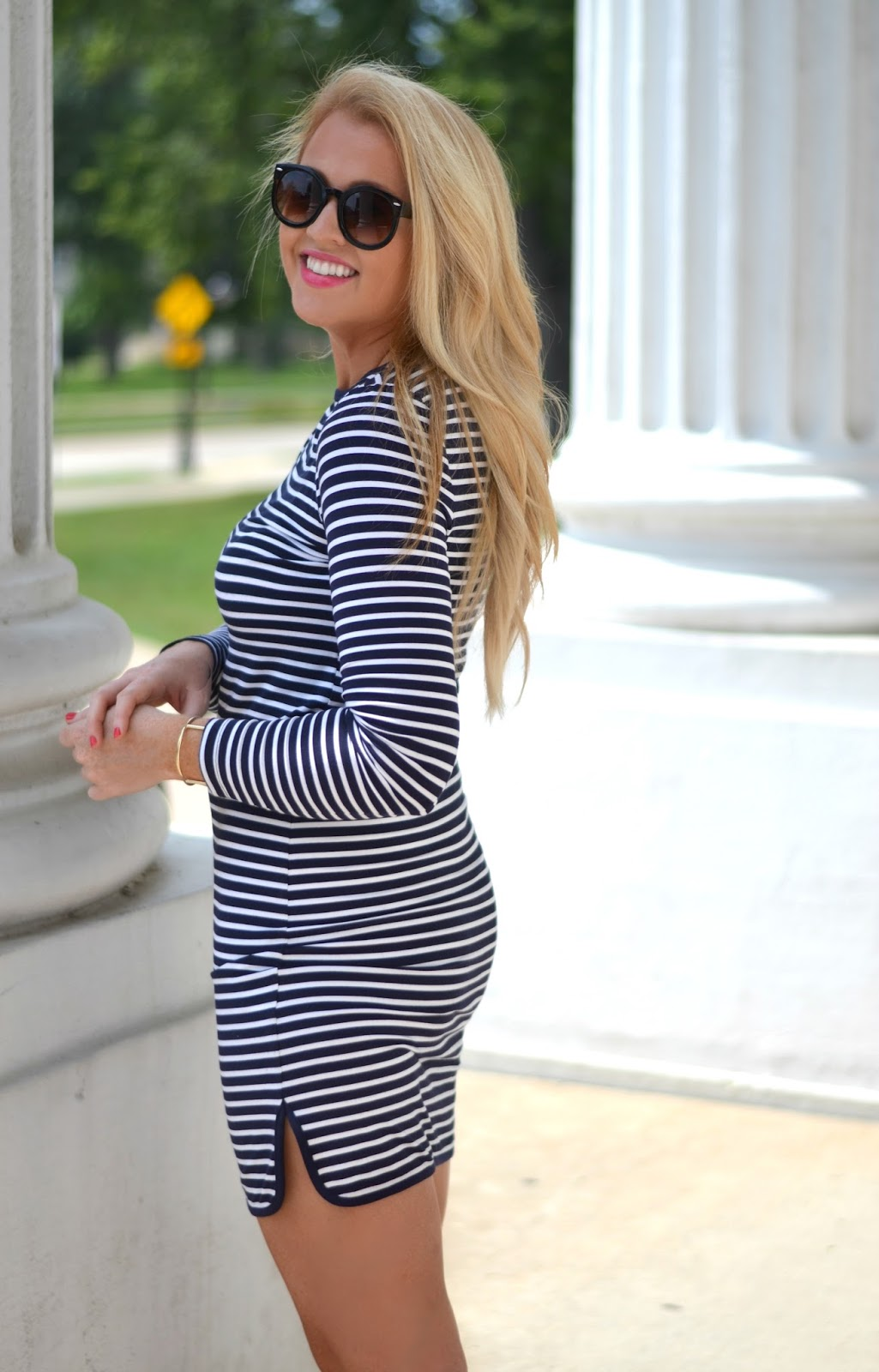 long sleeve navy and white stripe dress