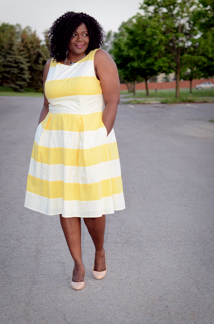 #Eshakti plus size yellow and white stripes dress. Yellow Striped Dress