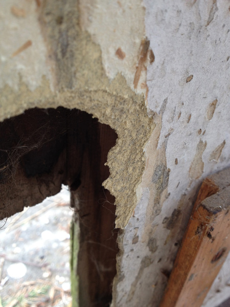 Asbestos Cement Board : Detail showing fibrous cement board around the old cat