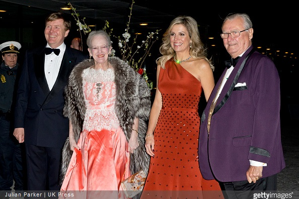 King Willem-Alexander of The Netherlands, Queen Margrethe of Denmark, Queen Maxima of the Netherlands and Prince Henrik of Denmark arrive at The Black Diamond in Copenhagen
