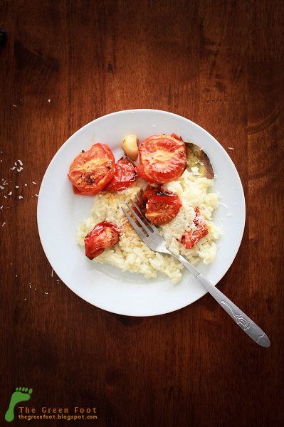 Rosii coapte la cuptor si un fel de risotto