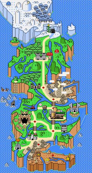 Mapa de los siete reinos al estilo Super Mario