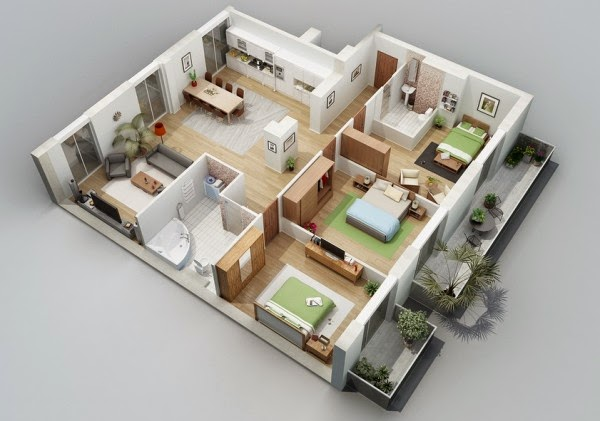 Denah Rumah Minimalis 1 Lantai 3 Kamar Tidur