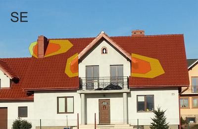 Strefy zacieniania na dachu skierowanym na południowy wschód