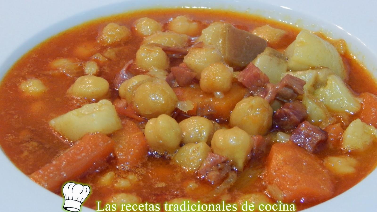 Receta de potaje de garbanzos con jamón