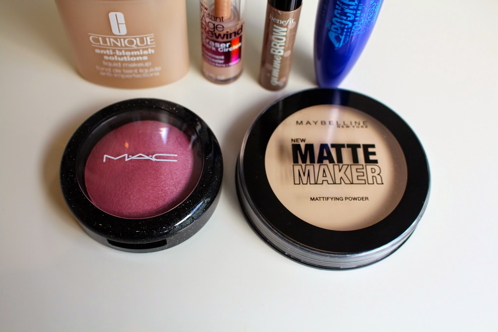 my everyday makeup routine, makeup routine, clinique anti-blemish solutions foundation, maybelline instant age rewind eraser dark circles, benefit gimme brow, maybelline the rocket, mac sweet sentiment blush, maybelline matte maker powder