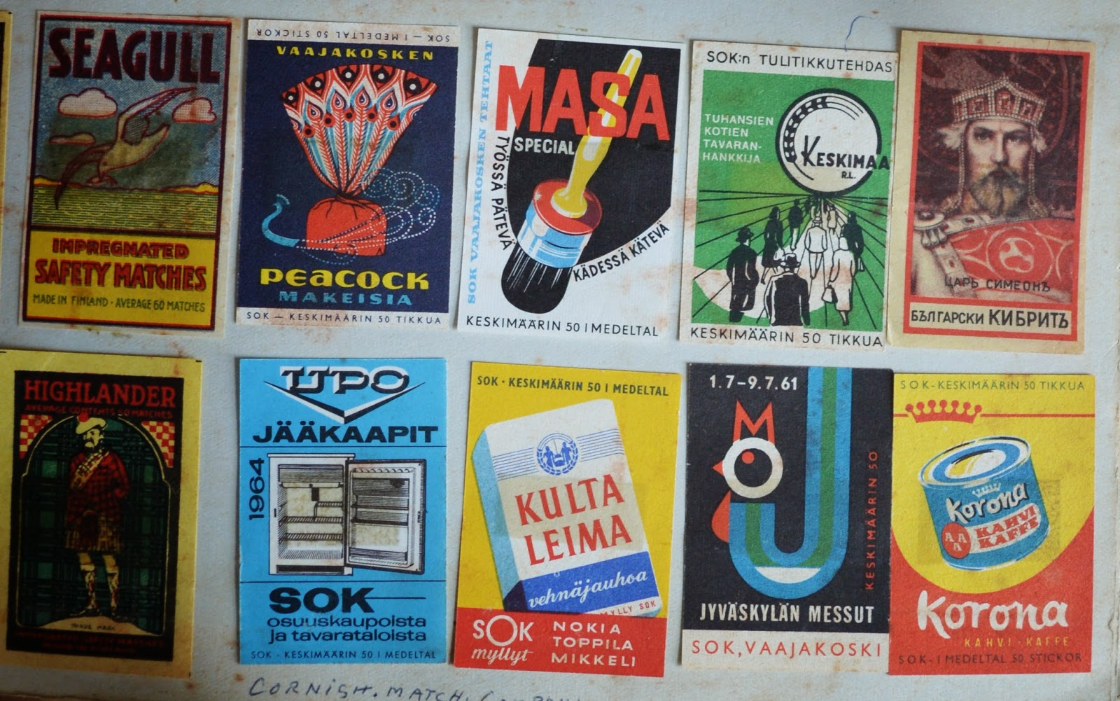 assorted matchbook and matchbox covers