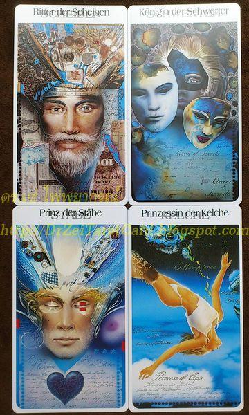 Court Card Röhrig Tarot ไพ่ราชาเหรียญ King of Disks Pentacles ไพ่ราชินีดาบ ความหมายไพ่ Queen of Swords อัศวินไม้เท้า เด็กถือถ้วย ไพ่ทาโร่ Prince Princess Page Cups Knight Wands
