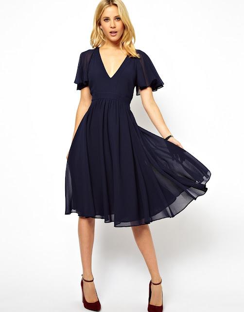 navy short sleeved midi dress