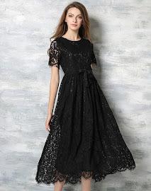 New 2016 Black/Red Short Sleeve Past Knee Length Flare Dress