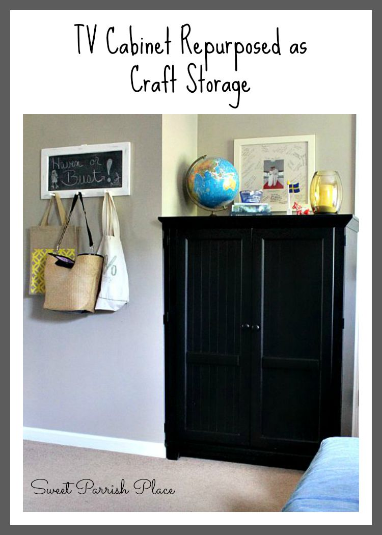 Television Cabinet Repurposed as Craft Storage • Sweet Parrish Place