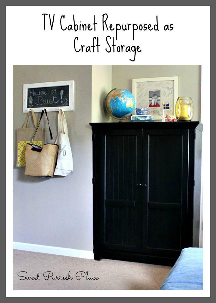 Superb TV Cabinet Repurposed As Craft Storage