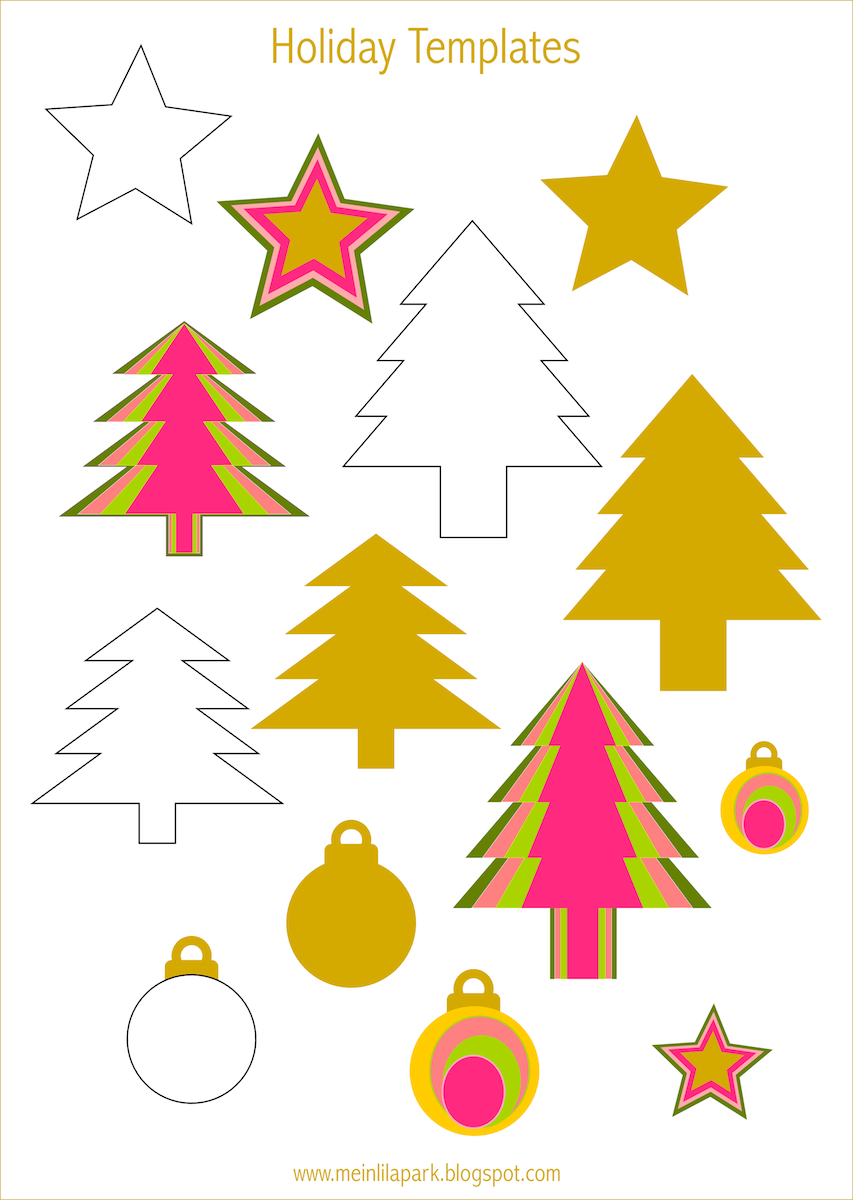 Free printable holiday templates tree star and bauble