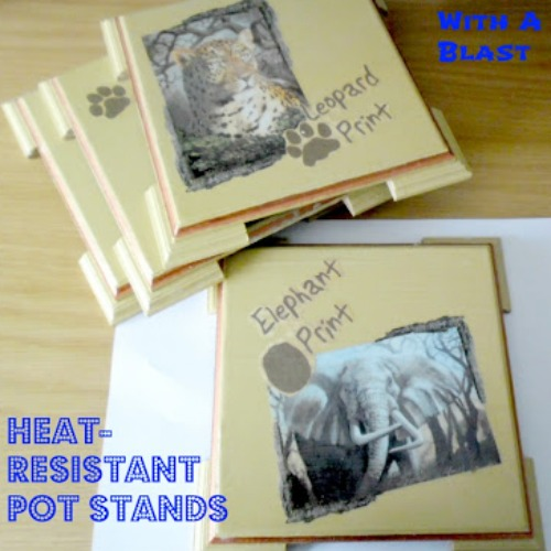 Heat-Resistant Pot Stands {DIY} ~ This is an easy DIY Decoupage craft and makes a lovely gift to just about anyone ! #GiftIdeas #DIYGifts www.withablast.net